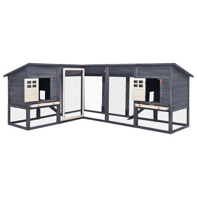 vidaXL Outdoor Rabbit Hutch with Run Grey and White Solid Fir Wood