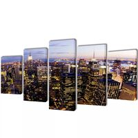 Canvas Wall Print Set Birds Eye View of New York Skyline 100 x 50 cm
