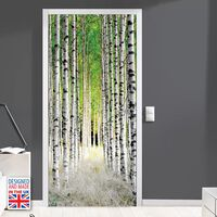 Door Mural Sticker Birch Pillars 90Cm X 200Cm, Home Decoration, Decal