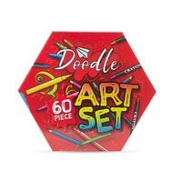 Doodle 60 Piece Hexagon Washable Arts And Crafts Set - Red
