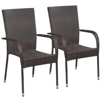vidaXL Stackable Outdoor Chairs 2 pcs Poly Rattan Brown