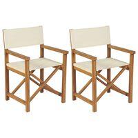 vidaXL Folding Director's Chairs 2 pcs Solid Teak Wood