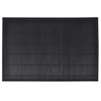 6 Bamboo Placemats 30 x 45 cm Black