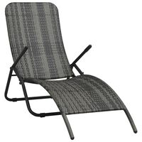 vidaXL Folding Sun Lounger Poly Rattan Grey