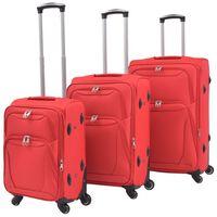 vidaXL 3 Piece Soft Case Trolley Set Red