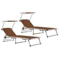 vidaXL Folding Sun Loungers with Roof 2 pcs Aluminium&Textilene Brown