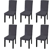 vidaXL Straight Stretchable Chair Cover 6 pcs Anthracite