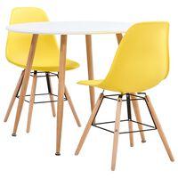 vidaXL 3 Piece Dining Set Plastic Yellow