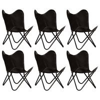 vidaXL Butterfly Chairs 6 pcs Black Kids Size Real Leather