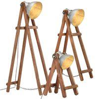 vidaXL Floor Lamps 3 pcs Silver E27 Solid Mango Wood