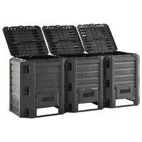 vidaXL Garden Composter Black 1200 L