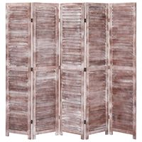 vidaXL 5-Panel Room Divider Brown 175x165 cm Wood
