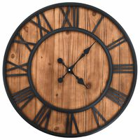 vidaXL Vintage Wall Clock with Quartz Movement Wood and Metal 60cm XXL