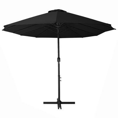 vidaXL Outdoor Parasol with Aluminium Pole 460x270 cm Black
