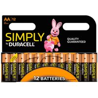 Duracell Simply Long-life Aa Batteries , Pack Of 12
