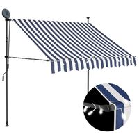 vidaXL Manual Retractable Awning with LED 150 cm Blue and White