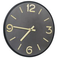 vidaXL Wall Clock Anthracite and Gold 31.5 cm Iron and MDF
