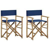vidaXL Folding Director's Chairs 2 pcs Blue Bamboo and Fabric
