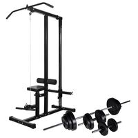 vidaXL Power Tower with Barbell and Dumbbell Set 30.5 kg