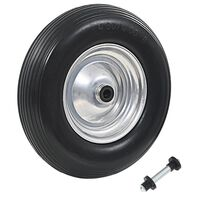 vidaXL Wheelbarrow Wheel with Axle Solid PU 4.00-8 390 mm