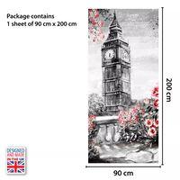 Door Mural Sticker Big Ben Sketch 90Cm X 200Cm, Home Decoration, Decal