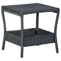 vidaXL Garden Table Dark Grey 45x45x46.5 cm Poly Rattan