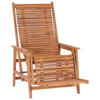 vidaXL Garden Lounge Chair with Footrest Solid Teak Wood