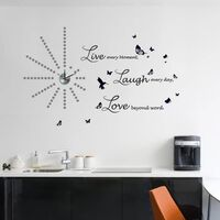 Walplus Wall Sticker Clock with Silver Dots and Live Laugh Love Quote