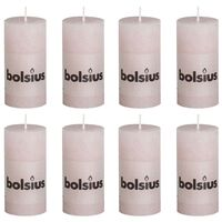 Bolsius Rustic Pillar Candles 8 pcs 100x50 mm Pastel Pink