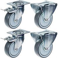 "80mm 3"" castor grey rubber brake & fixed strong 320kg capacity, set of"