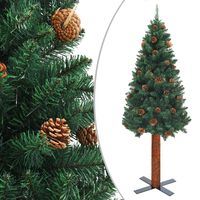 vidaXL Slim Christmas Tree with Real Wood and Cones Green 210 cm PVC