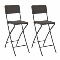 vidaXL Folding Bar Chairs 2 pcs HDPE and Steel Brown Rattan Look