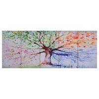 vidaXL Canvas Wall Print Set Raining Tree Multicolour 150x60 cm