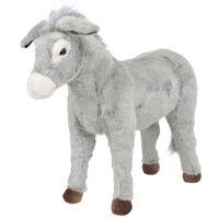vidaXL Standing Plush Toy Donkey Grey XXL