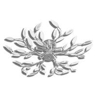 Transparent&White Ceiling Lamp Acrylic Crystal Leaf Arms 5 E14 Bulbs