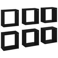 vidaXL Wall Cube Shelves 6 pcs Black 26x15x26 cm