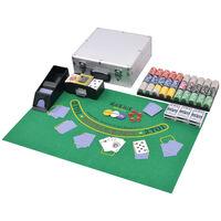 vidaXL Combine Poker/Blackjack Set with 600 Laser Chips Aluminium