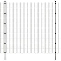 vidaXL 2D Garden Fence Panels & Posts 2008x2030 mm 16 m Silver