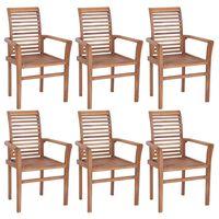 vidaXL Stacking Dining Chairs 6 pcs Solid Teak Wood