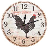 vidaXL Wall Clock with Chicken Design Multicolour 30 cm MDF