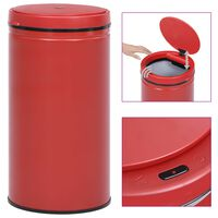 vidaXL Automatic Sensor Dustbin 60 L Carbon Steel Red
