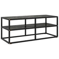 vidaXL TV Cabinet Black with Black Marble Glass 100x40x40 cm