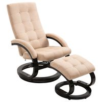 vidaXL Recliner Chair with Footrest Cream Suede-touch Fabric
