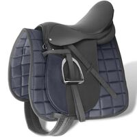 """Horse Riding Saddle Set 16"""" Real Leather Black 14 cm 5-in-1"""