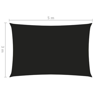 vidaXL Sunshade Sail Oxford Fabric Rectangular 3x5 m Black