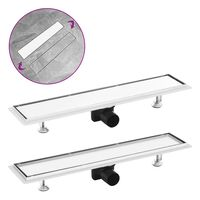 vidaXL Shower Drain with 2-in-1 Cover 63x14 cm Stainless Steel