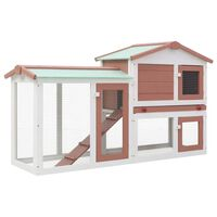 vidaXL Outdoor Large Rabbit Hutch Brown and White 145x45x85 cm Wood