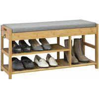 SoBuy Bamboo Shoe Rack Shoe Bench with Seat Cushion, FSR47-N