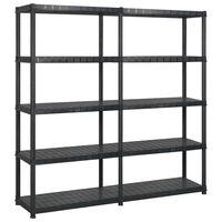 vidaXL Storage Shelf 5-Tier Black 170x40x185 cm Plastic