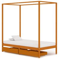 vidaXL Canopy Bed Frame with 2 Drawers Solid Pine Wood 90x200 cm